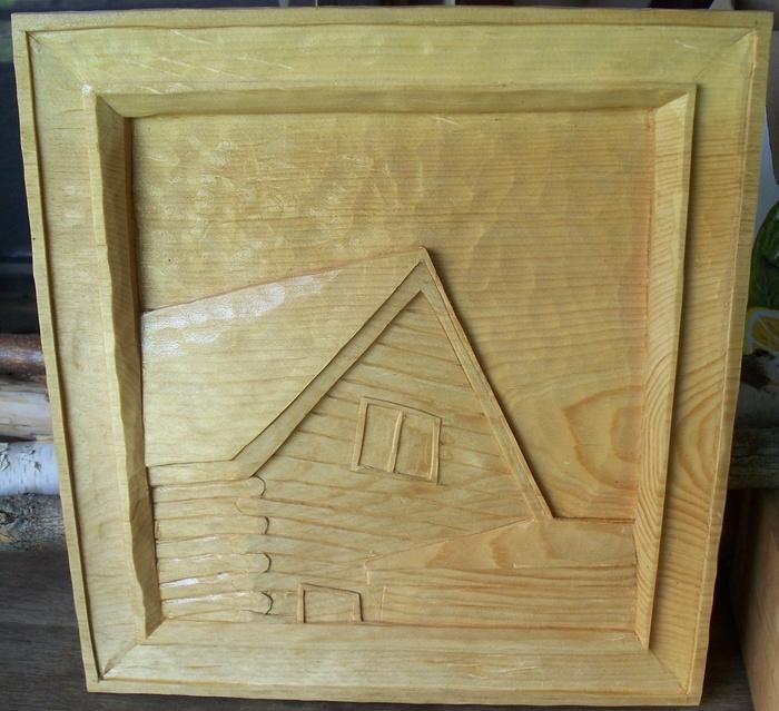 Wood carvings deep relief woodcarvings log cabin in clear