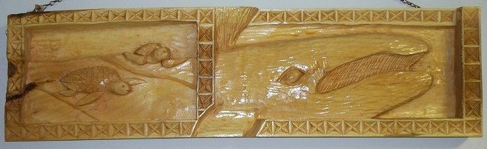 Wood carvings deep relief carving the sea life hand carved