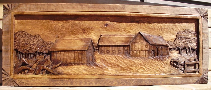 Wood carvings farmstead a hand carved deep relief woodcarving