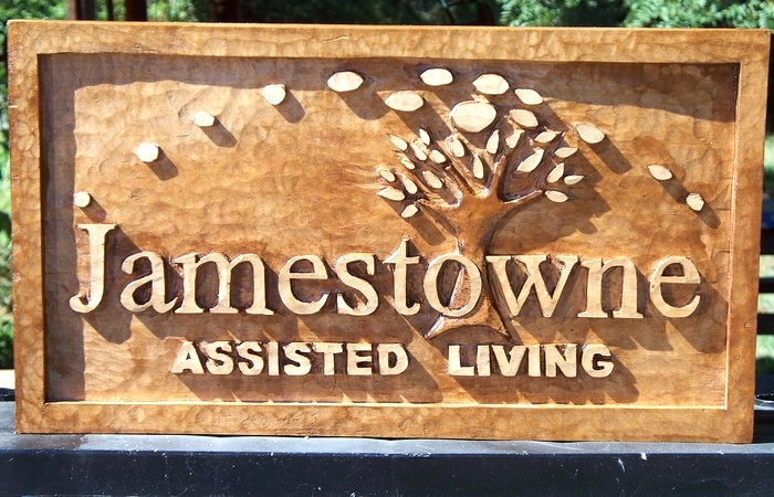 Jamestowne Assisted Living Sign Wood Carvings