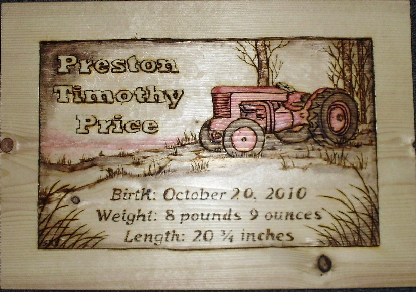 Tractor Birth Plaque Wood Carvings