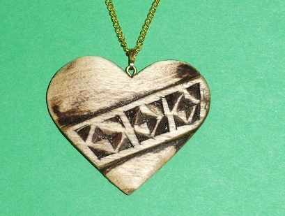 Vintage Style heart Necklace Wood Carvings