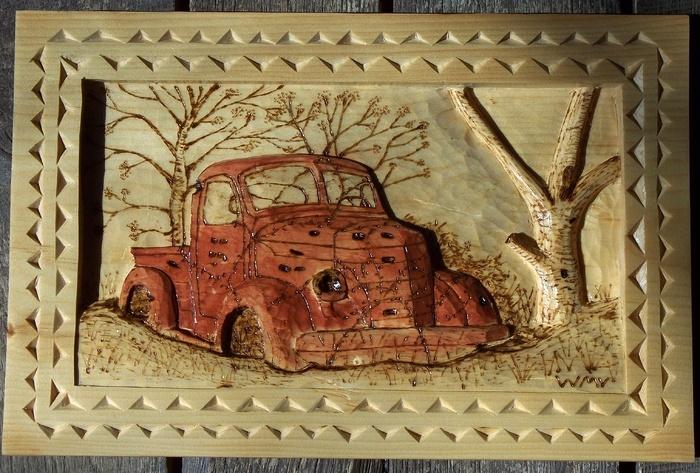 Relief carving of 1939 International Pickup  Wood Carvings