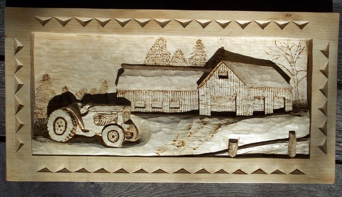 Hand Carved deep relief of tractor and farm SOLD Wood Carvings