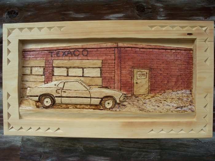 Deep Relief 1969 Ford Mustang FastBack         SOLD Wood Carvings