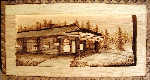 Hand Carved Poplar Gas Station Wood Carvings