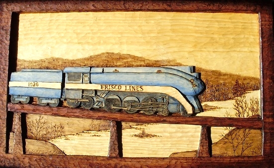 Hand Carved Frisco Locomotive 1026  SOLD Wood Carvings