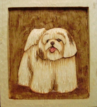 Hand Carved Shih Tzu Puppy sold Wood Carvings