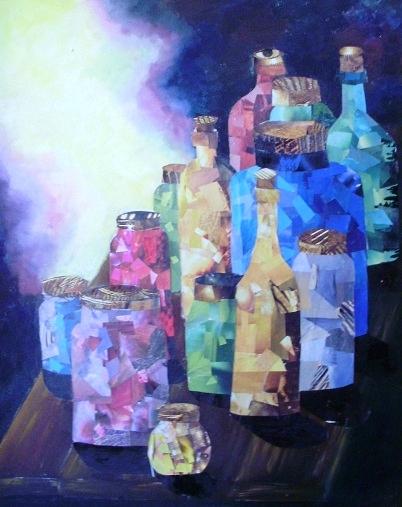 Herb Bottles in the Sun  Wood Carvings