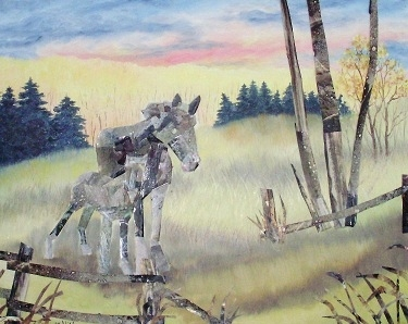 Horses at Pasture Wood Carvings