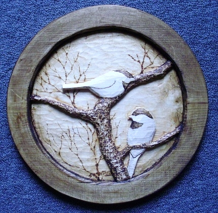 Hand Carved Chickadees Wood Carvings