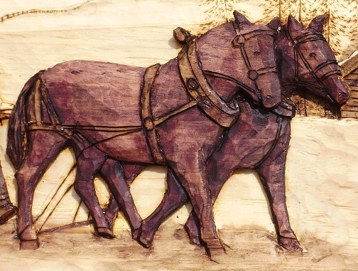Hand Carved Draft Horses on the Way Home Wood Carvings