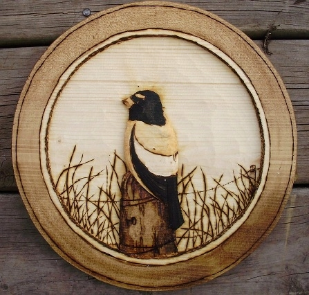 Hand Carved Evening Gross Beak Wood Carvings