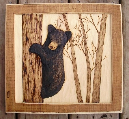 Hand Carved Bear Cub  Wood Carvings