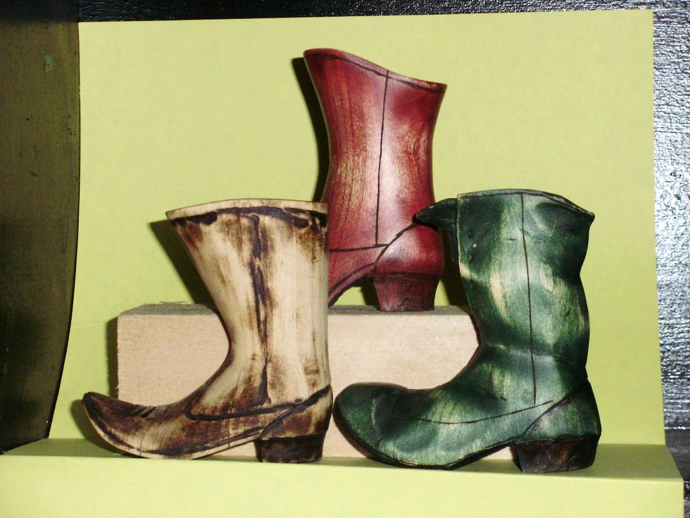 Hand Carved Boots Wood Carvings