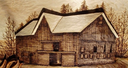 Wood carvings relief carving of the barn winter specials
