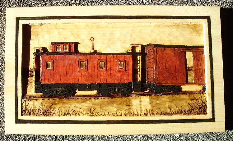 Hand Carved Caboose Relief Carving Wood Carvings