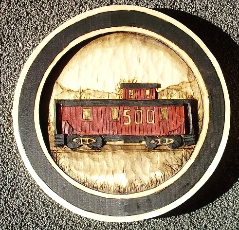 Hand Carved Caboose Wood Carvings