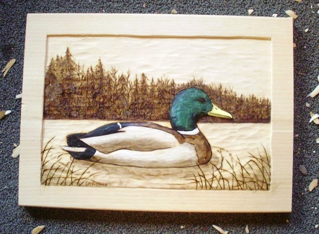 Hand Carved Mallard Relief Wood Carvings