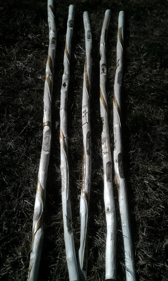 Hand Carved Story Canes Wood Carvings