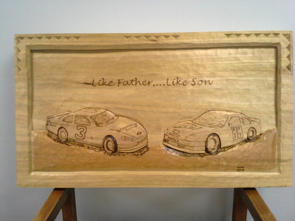 Like Father Like Son      NASCAR Carving Wood Carvings