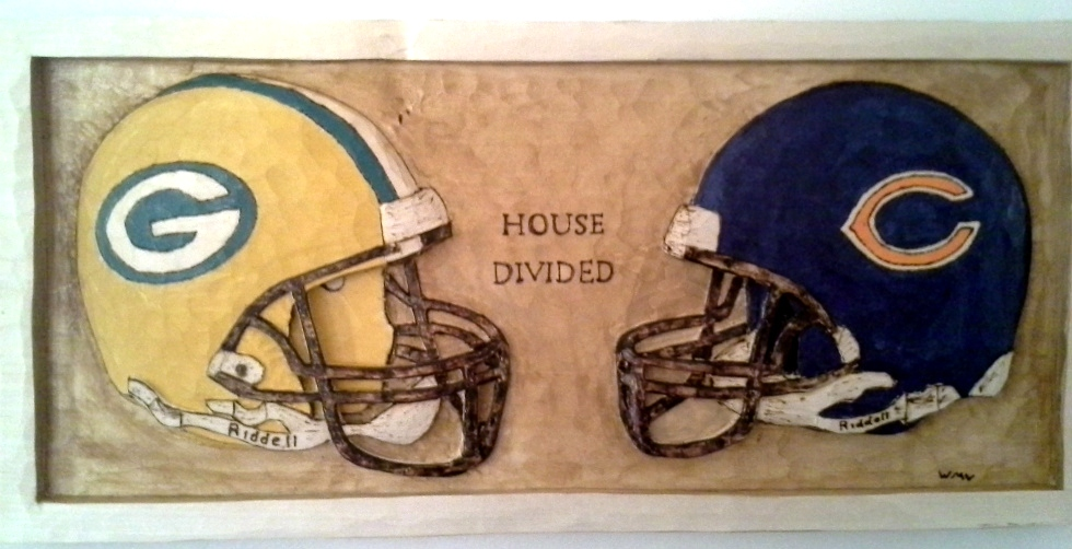 House Divided Greenbay and Chicago Carved Wall Plaque Wood Carvings