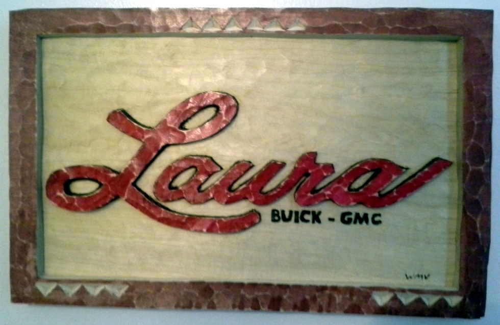 Laura Buick GMC Carved Plaque Wood Carvings