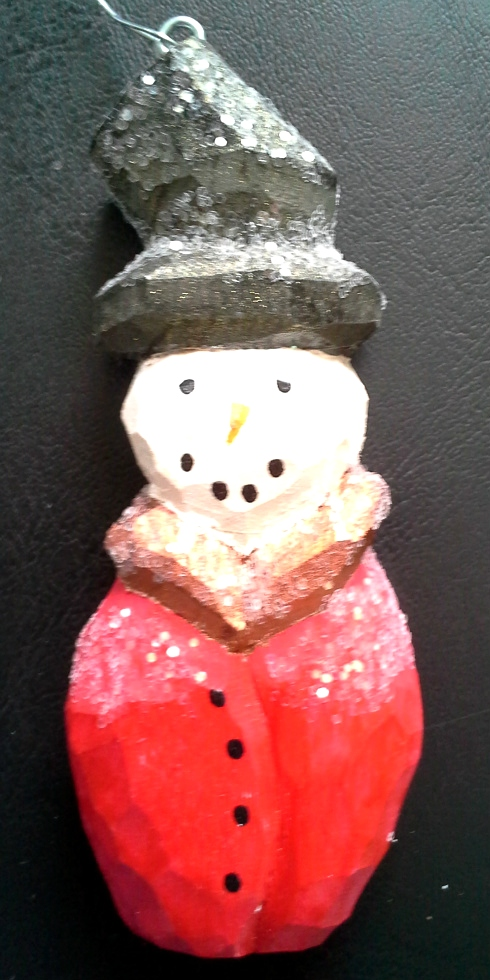 Hand Carved SnowMan Ornaments Wood Carvings