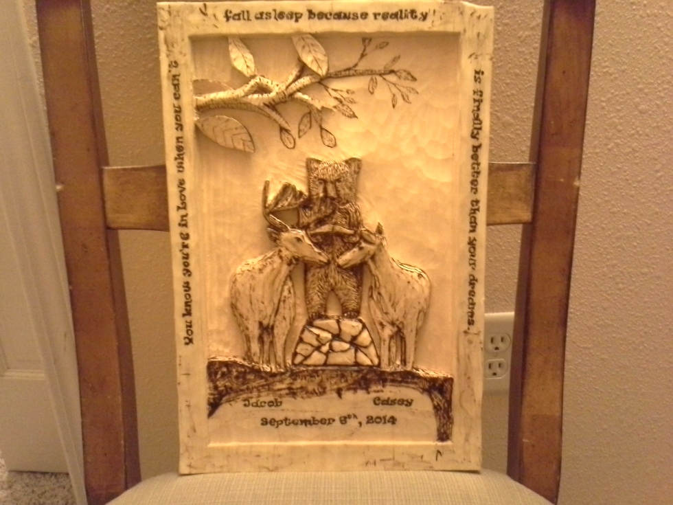 Hand Carved Wedding Plaque Wood Carvings