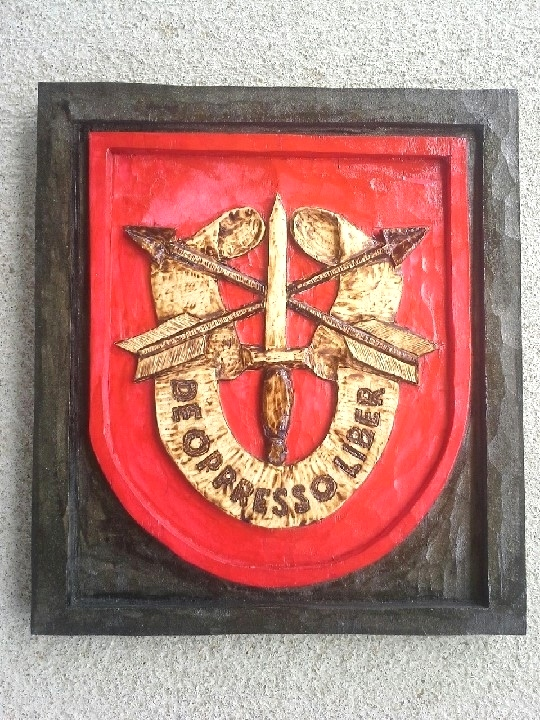 SF Crest - U.S. Army Special Operations Command Wood Carvings