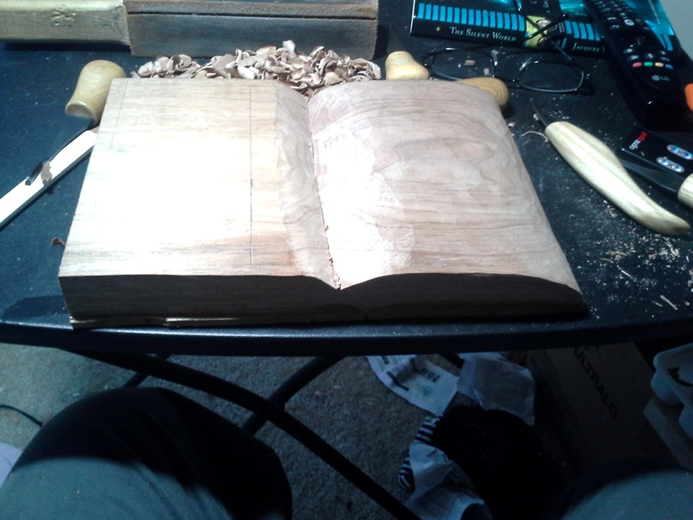 Hand Carved Open Book Wood Carvings