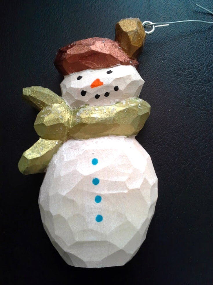 1 Hand Carved Snowman Ornament Wood Carvings