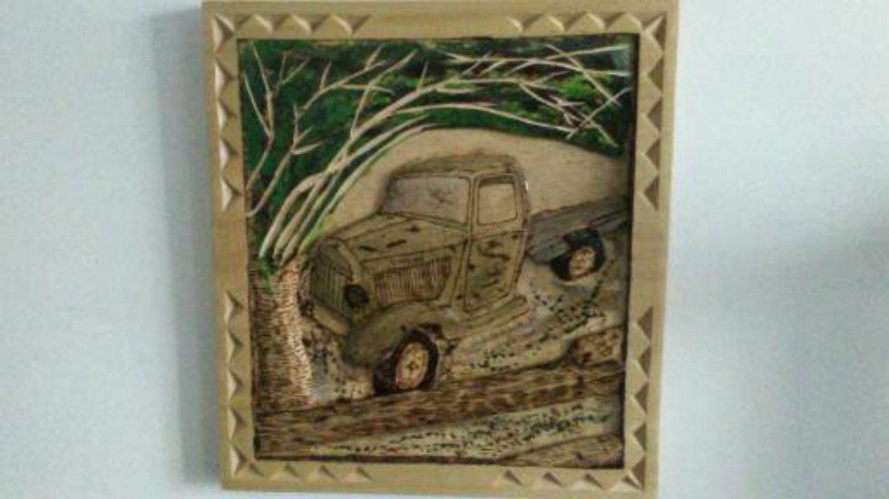 Old Farm Truck | Hand Carved Deep Relief Old Truck on the farm Wood Carvings