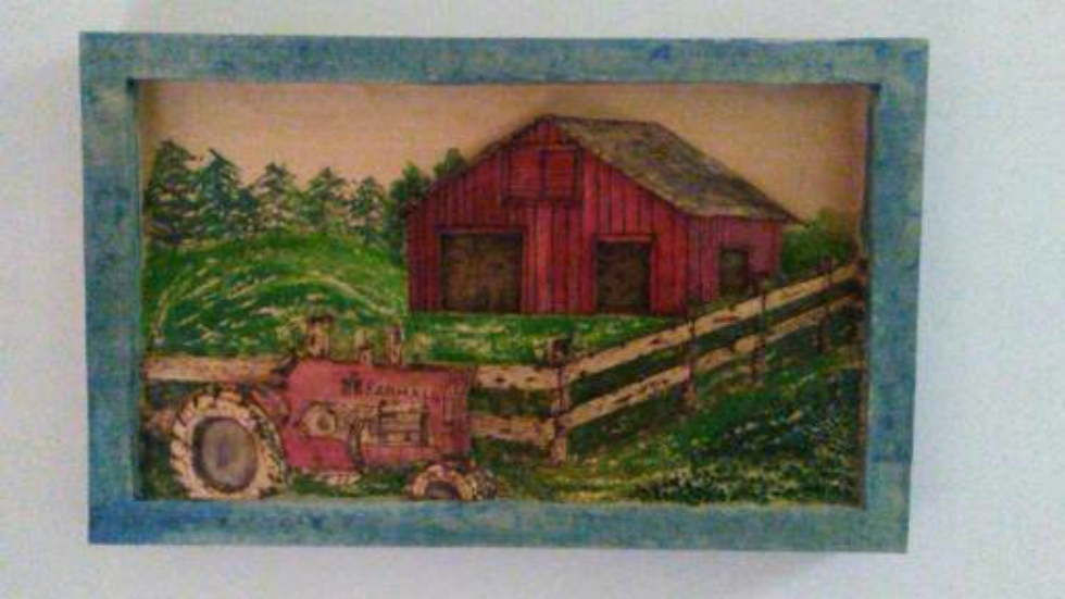 The Old Farm and Tractor | Hand Carved Deep Relief Farm and Tractor Wood Carvings