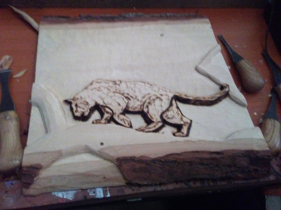 Carved Panther in tree Wood Carvings