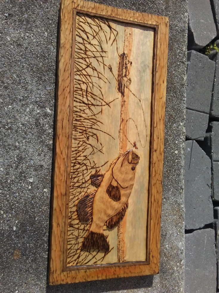 Carving of a Good Day Fishing Wood Carvings